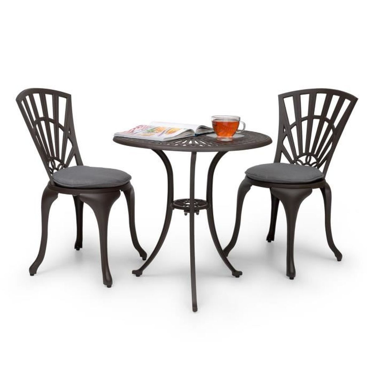 blumfeldt valletta set bistrot table 2 chaises coussins alu moul marron achat vente. Black Bedroom Furniture Sets. Home Design Ideas