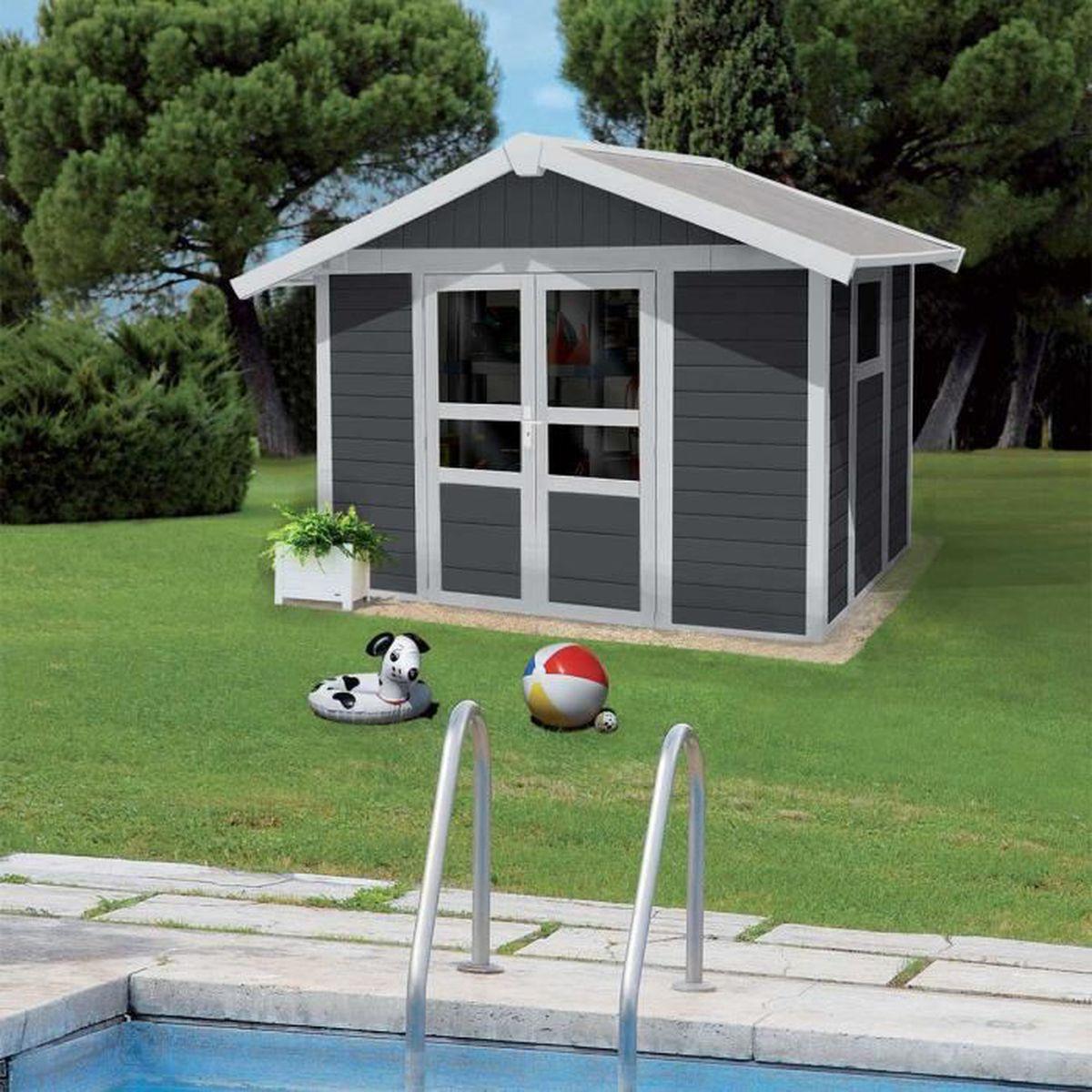 Sur Quoi Poser Un Abri De Jardin abri de jardin basic home 7,5 gris foncé - 7.5 m² + kit d