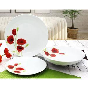 SERVICE COMPLET Service de Table 18 pièces en porcelaine Coquelico