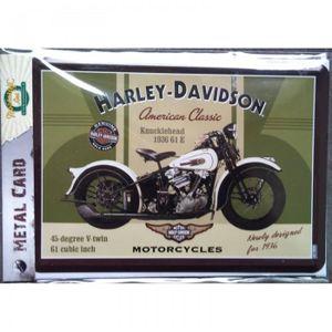 PLAQUE EN METAL EMAILLEE 10 X 14 cm CARTE POSTALE HARLEY-DAVIDSON GENUINE