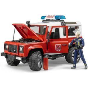 VOITURE - CAMION BRUDER - 02596 - Véhicule pompier LAND ROVER Defen