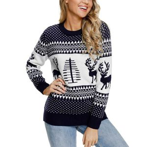 PULL Pull Femme Chandail Tricot Col Rond Manches Longue
