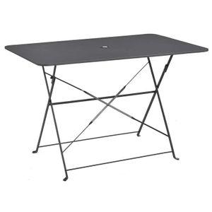 TABLE À MANGER SEULE Table pliante rectangulaire en métal coloris anthr