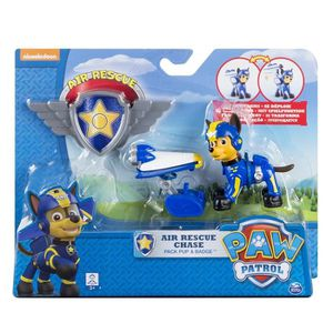 FIGURINE - PERSONNAGE Paw Patrol Air Rescue Chase Paquet Pup & Badge Pla