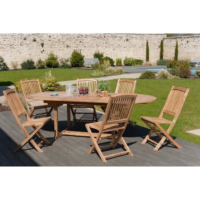 Ensemble en teck table ovale extensible de jardin 180 for Table de salon en teck occasion