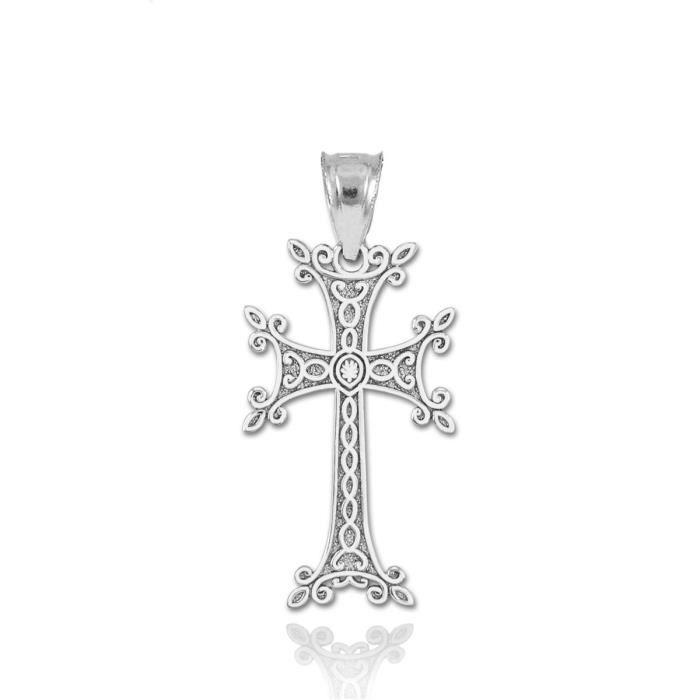 Chaine De Cou Vendue Seule WP5BB Femmes Beaux argent 925 Arian Pendentif croix charme