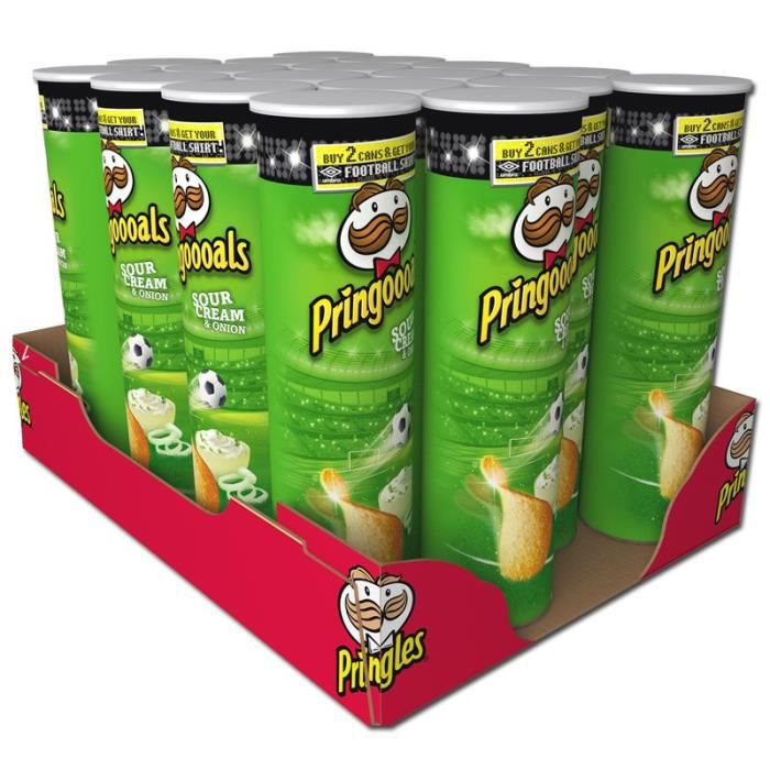 Pringles Chips Sour Cream and Oignon 190g, 18 pièces