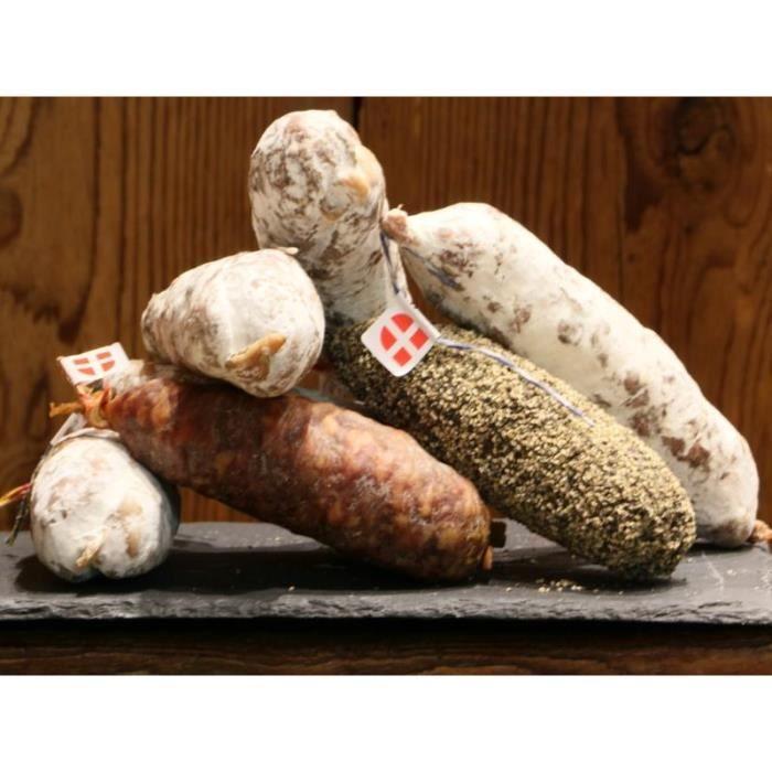 LOT DE 6 SAUCISSONS DE SAVOIE : Pur porc, Fumé, Noisette, beaufort, Poivre, Sanglier.