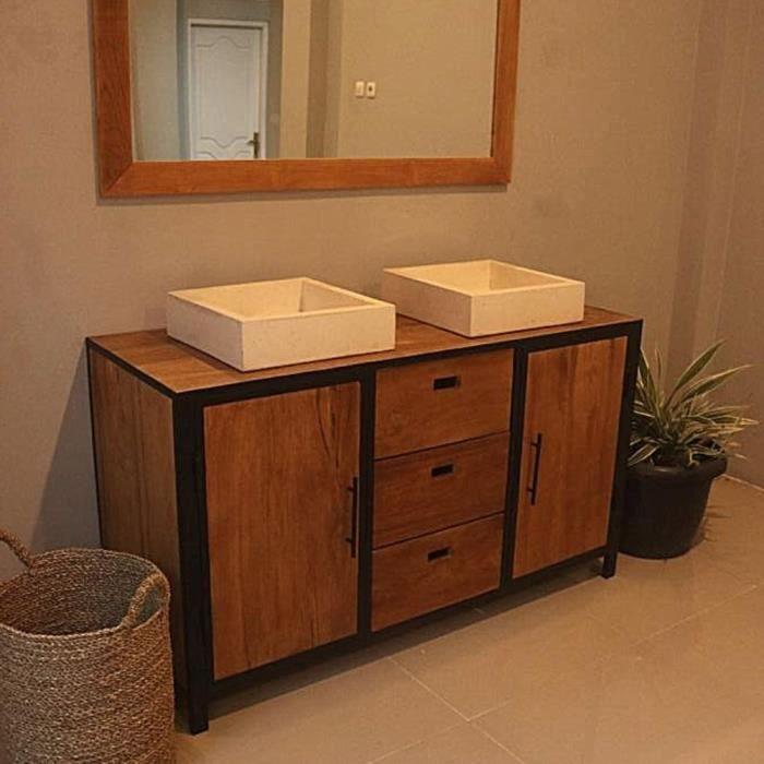 Ensemble salle de bain en teck Industriel