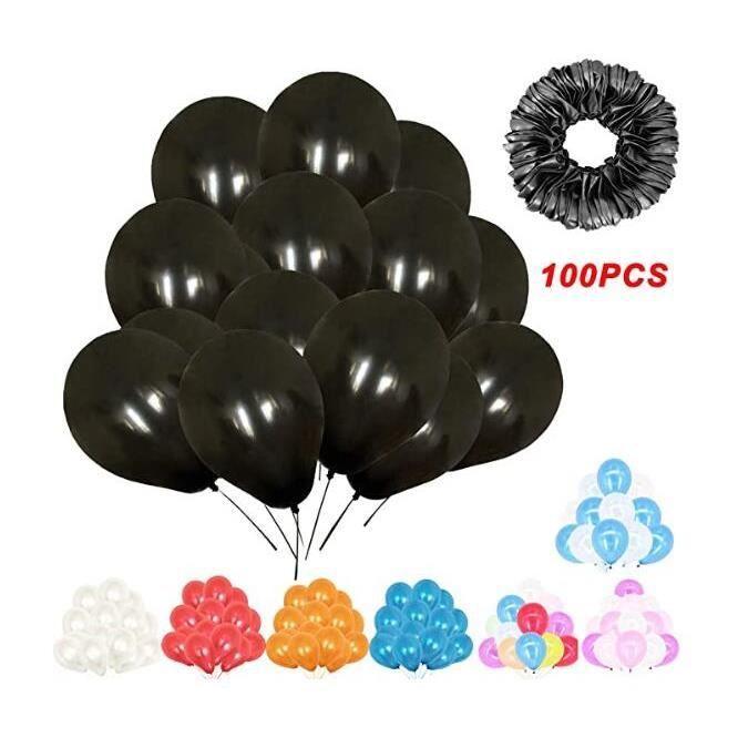 200pcs 10'' Ballons Nacré Perlé Gonflables Ballons pour Fêtes Anniversaire Cérémonie de Mariage Party Décorations (Noir)