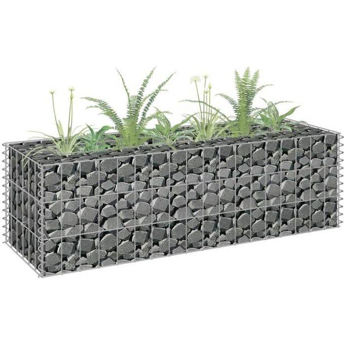 🕊2646Magnifique- Lit surélevé à gabion - Bac à Fleur Jardinière Balcon ou Terrasse - Acier galvanisé 90x30x30 cm