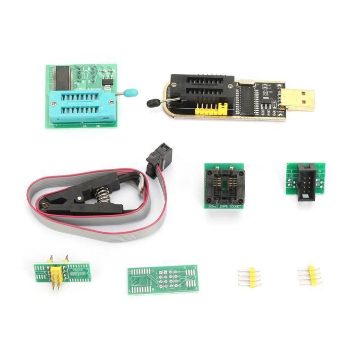 Cikonielf Module de convertisseur de prise adaptateur Programmeur USB CH341A + pince de test SOP8 + adaptateur 1.8 V + Module