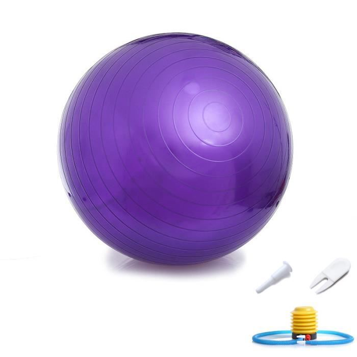 Ballon Suisse Fitness Gym Yoga Epais Couleur Unie 55 cm Violet