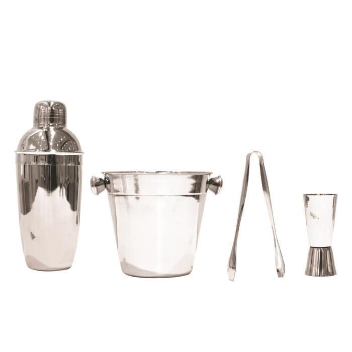 Coffret cocktail acier 'Design' chrome (4 pièces) [Q0496]