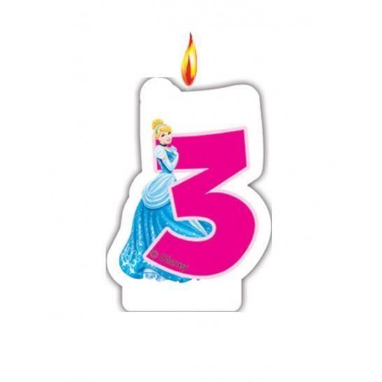 Bougie chiffre anniversaire disney princess 3 ans