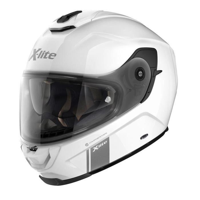 X-LITE Casque Intégral X-903 MODERN CLASS N-COM 3 METAL WHITE - MICROLOCK2 - L - Bianco