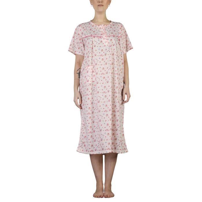 i-Smalls Women Nightwear Floral Print Short Sleeve Pocket Plus Sizes