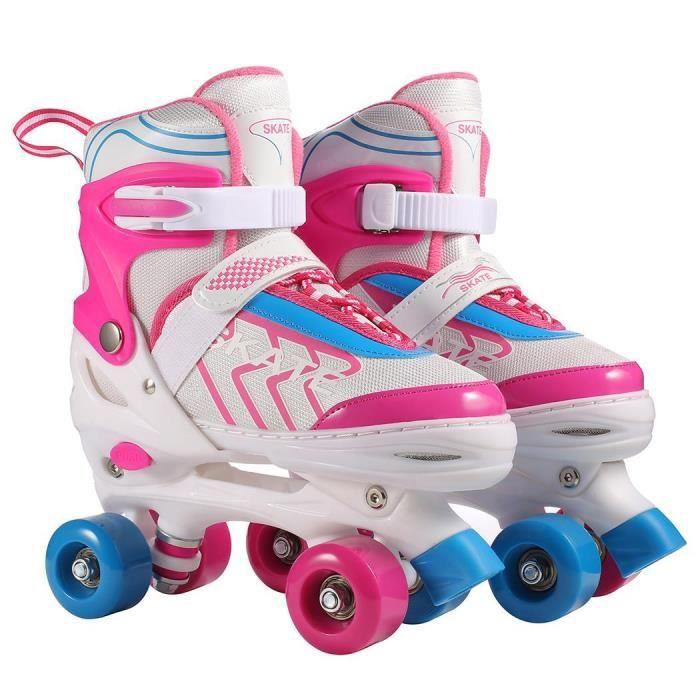 Patins à roulettes Réglables, Roller Quad Respirant et Confortable avec Roues Lumineuses pour Débutants Filles, Garçon, Enfants