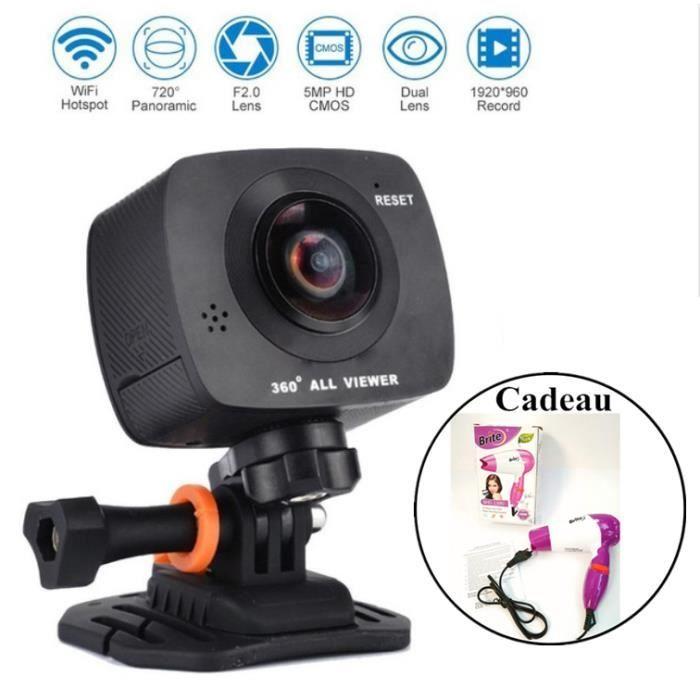 OLALI® Caméra 360 Degrés D'action Caméra 720 Degrés Numérique Vidéo Ultra HD 1920x960 P/30fps Vue panoramique VR Sport Caméra