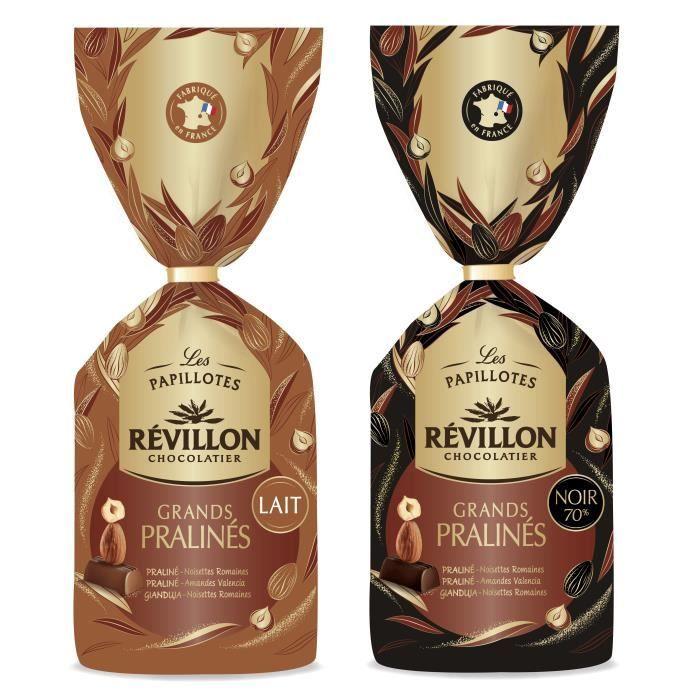 Révillon Chocolatier - Lot de 2 sachets de papillotes Grands Pralinés