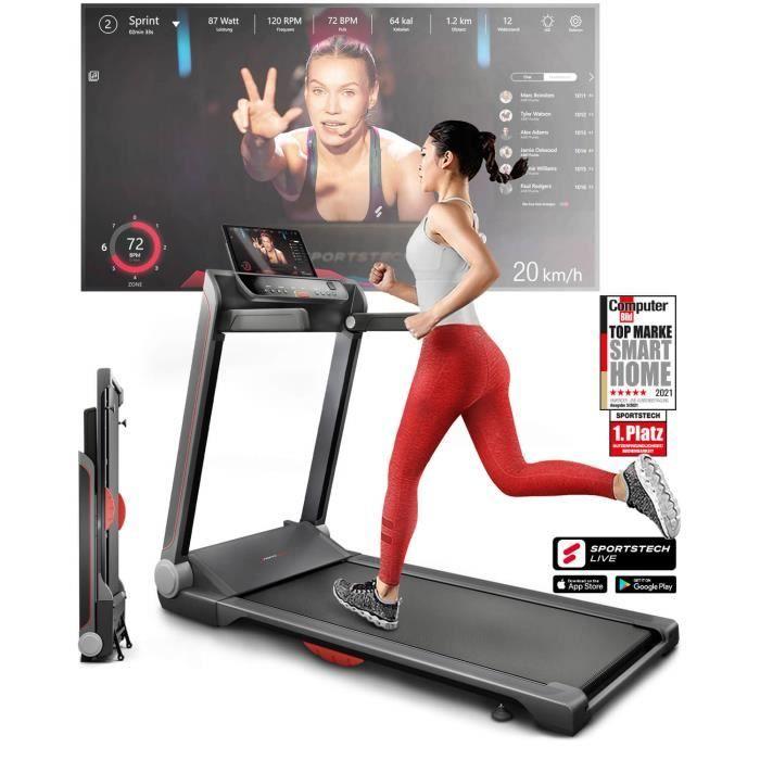 Sportstech FX300 Ultra Slim Treadmill - Marque de qualité allemande - Live Videos & Multijoueur APP, Surface de course géante