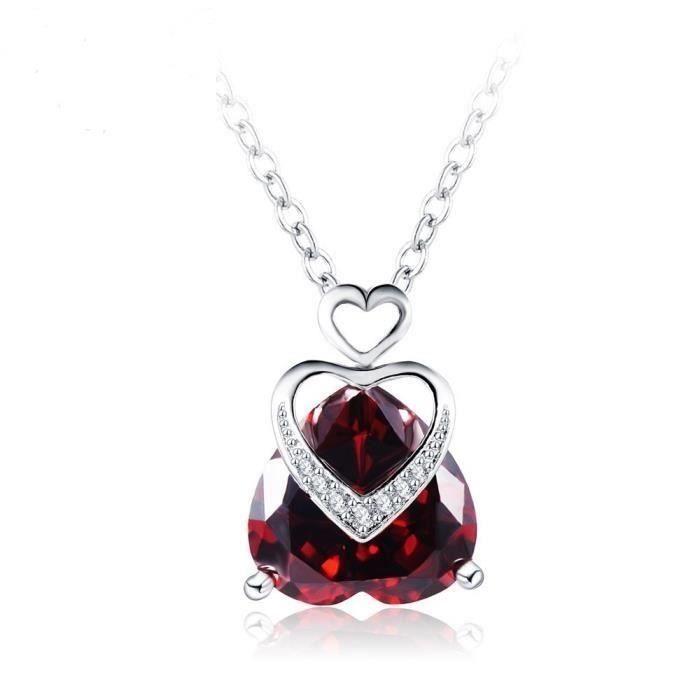 Collier Pendentif Coeur Cristal Swarovski* Rouge Plaqué Or Blanc 750