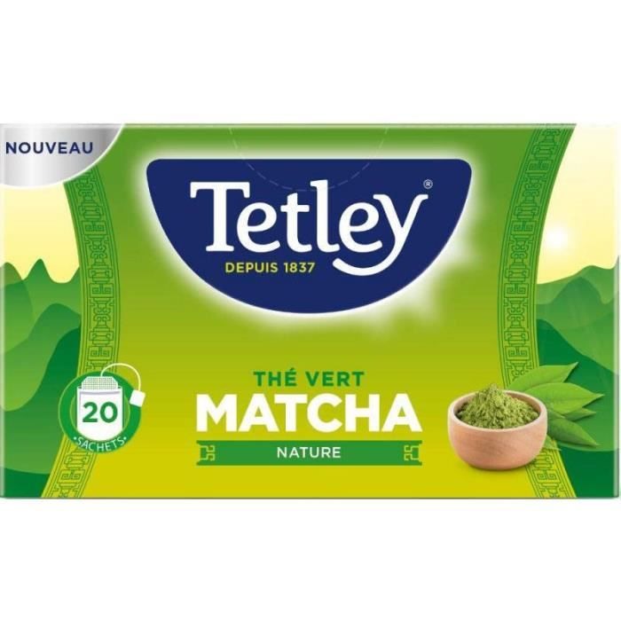 Tetley Thé Vert Matcha Nature 20 Sachets 42 g - Lot de 5 - S140528