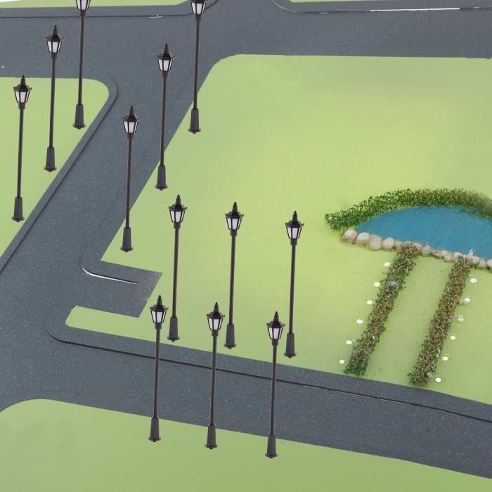 VEHICULE A CONSTRUIRE - ENGIN TERRESTRE A CONSTRUIRE 20 pièces Éclairage de rue miniature à l'échelle 1/75 HO