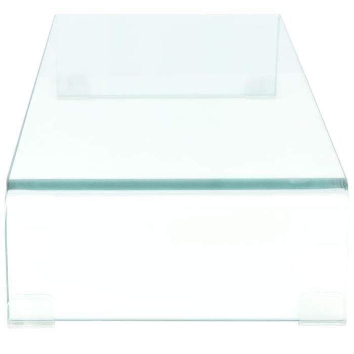 213895 - Design Furniture - Meuble TV Contemporain - Meuble HI-FI- pour moniteur 80 x 30 x 13 cm Verre Transparent