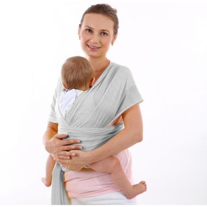 Écharpe de portage Serviette bébé respirante d'été Gris