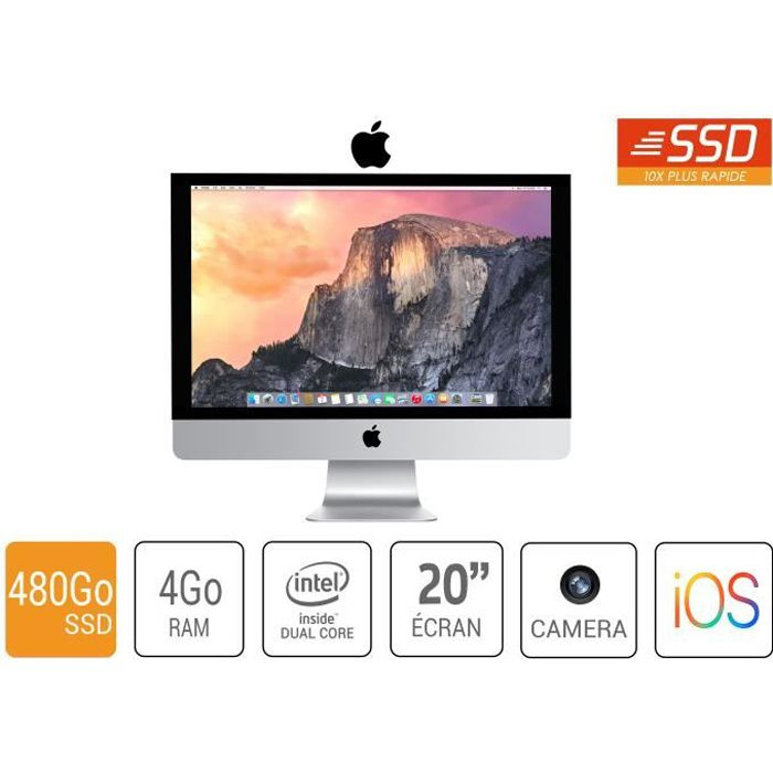 ORDI BUREAU RECONDITIONNÉ imac apple a1224 20 pouce core 2 duo4go ram 480