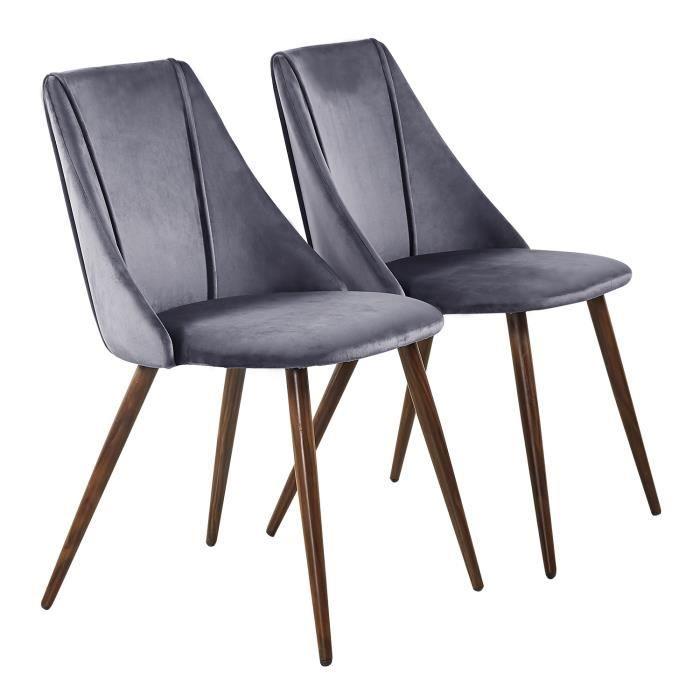 2 en Métal Velours Scandinavian Pieds Manger Chaise Chaise DoréGris a HJ avec RétroFauteuil Salle Design WEH2IYD9