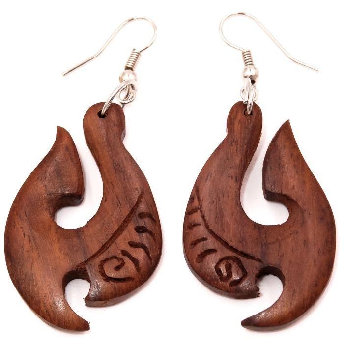 boucle d'oreille ethnique bois