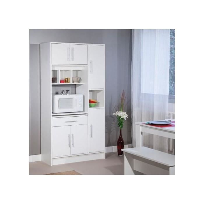 Buffet micro ondes 6 portes 1 tiroir 4 niches blanc - Table micro onde ...