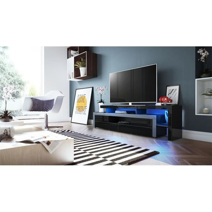 meuble tv laqu noir et bande grise avec led 193 cm achat vente meuble tv meuble tv laqu. Black Bedroom Furniture Sets. Home Design Ideas