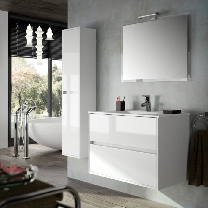 meuble salle de bain suspendu 90 cm couleur blanc achat. Black Bedroom Furniture Sets. Home Design Ideas