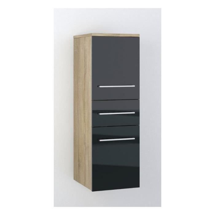justhome lupo armoire murale suspendue de salle de bain sonoma noir 30 x 92 x 32 achat. Black Bedroom Furniture Sets. Home Design Ideas