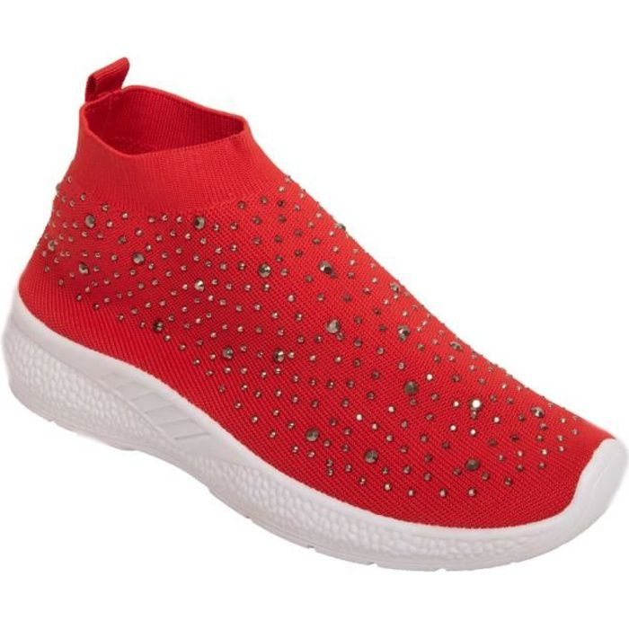 Femme Strass Chaussette Running Baskets Femmes Fitness Gym Tricot Chaussures Sport Taille