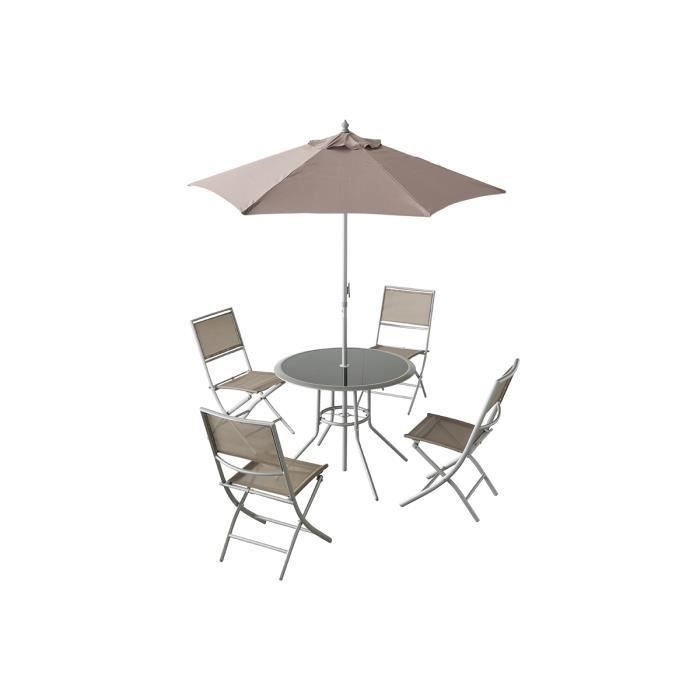 ensemble de jardin de 4 chaises 1 parasol oceane taupe avec 1 table achat vente salon de. Black Bedroom Furniture Sets. Home Design Ideas