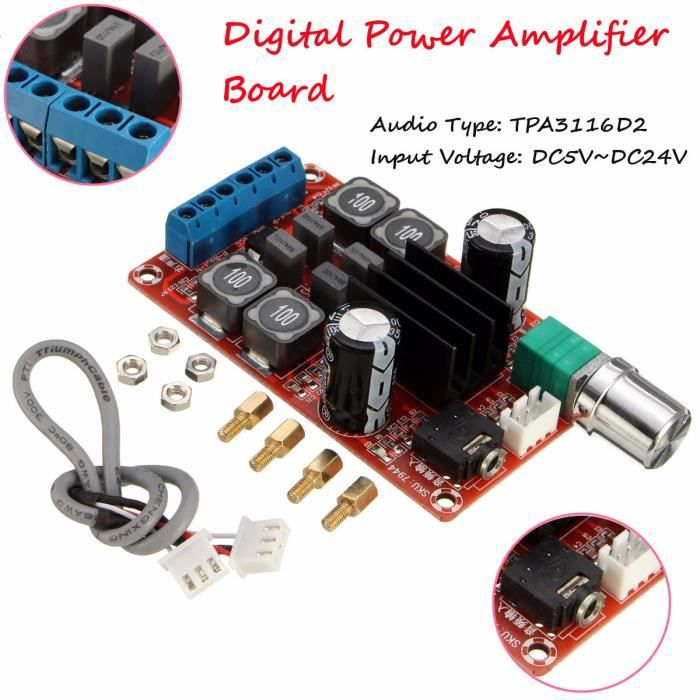 5v-24v 2x50w Tpa3116d2 Hifi Digital Subwoofer Amplificateur Module Double Canal