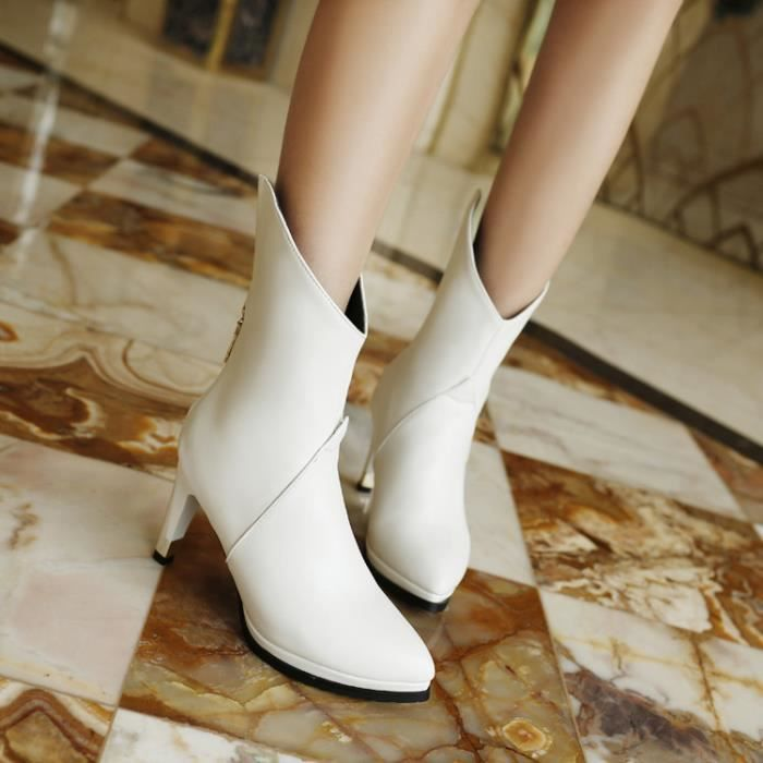 bottes courtes-Pure Color Pointu Toe Platform High Heel Ankle Boot Femmes