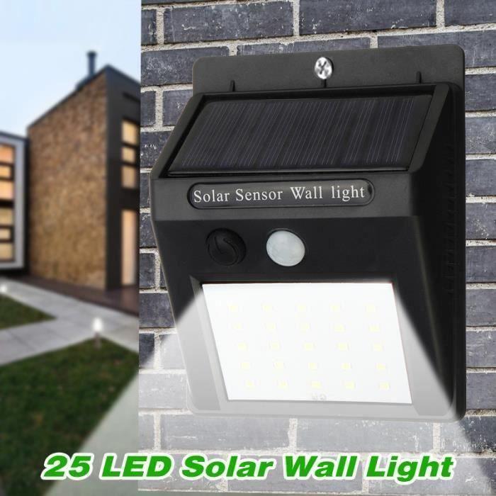 25LED Lampe murale solaire exterieur détecteur de mouvement+lumière faible Wir15