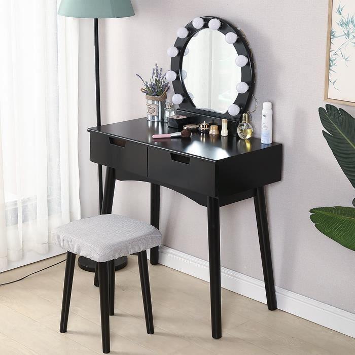 Table de maquillage avec Tabouret Avec LED Coiffeuse en MDF et Bois massif Meuble pour chambre appartement Cadeau pour filles/Femmes