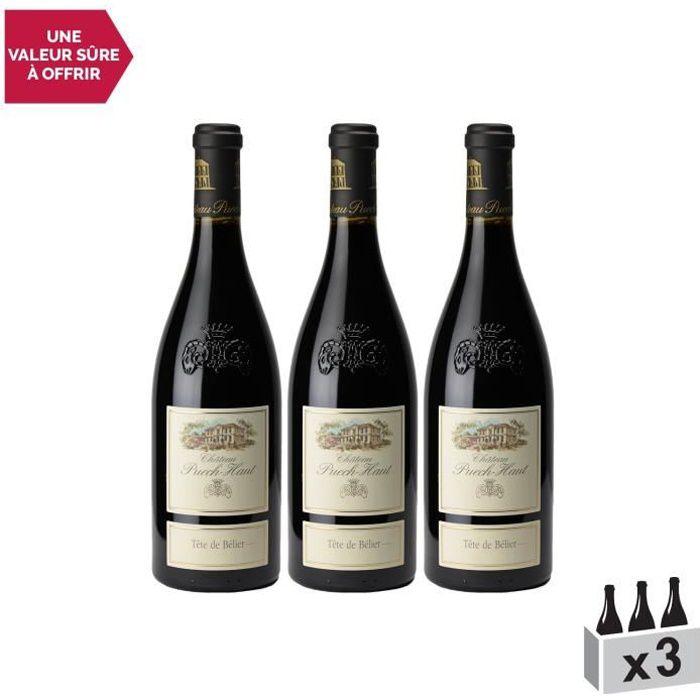 Château Puech Haut Tête de Bélier Rouge 2018 . Lot de 3x75cl . Appellation AOC Languedoc . Vin Rouge du Languedoc . Roussillon .
