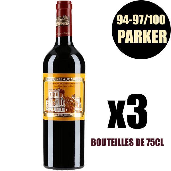X3 Château Ducru-Beaucaillou 2015 75 cl AOC Saint-Julien Rouge 2ème Cru Classé Vin Rouge