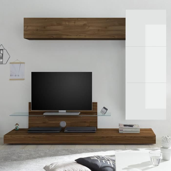 Meuble TV complet blanc laqué et couleur noyer CERANO Marron L230 x P 190 x H 50 cm