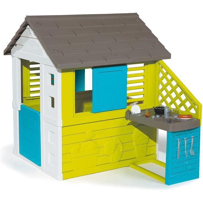 Smoby - Maison Pretty + Cuisine d'Eté - Cabane de Jardin Enfant - 2 Fenêtres avec Persiennes + 17 Accessoires - 8107113