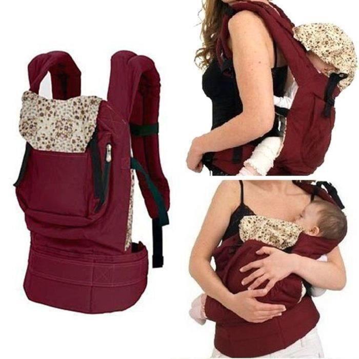 Nouvellement conçu Front Back Baby Safety Carrier avec Sling Wrap harnais sac à dos de confort pour bébé (rouge)