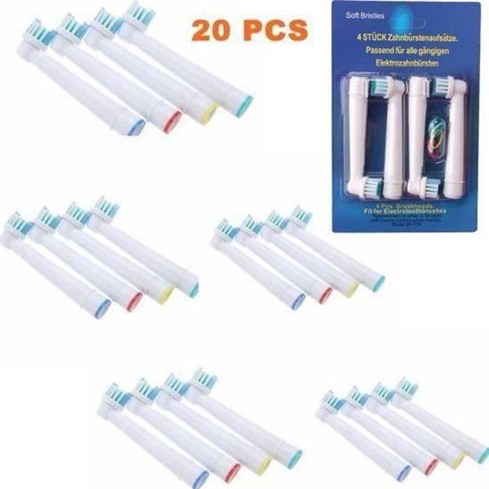 Pack de 20 Brossettes Têtes de Remplacement Brosses à Dent Electrique pour SB-17A EB17 Oral B Braun brosse Vitality Precision Clean
