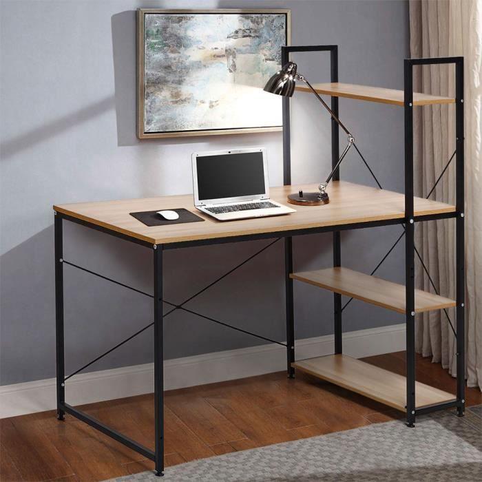 Bureau industriel 120x60 bois acier avec étagère et étagères design minimaliste EMPIRE